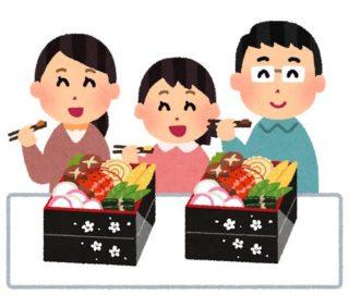 おせちを食べる家族