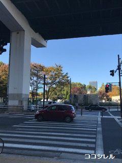 右手には大阪城がある大阪城公園が見えます。
