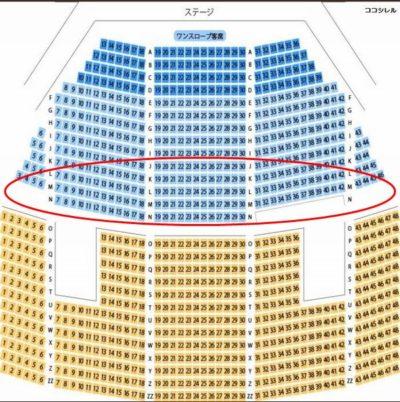 ピロティホールの座席 J列~N列