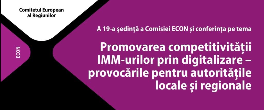 """Invitație la evenimentul """"Creșterea competitivității IMM-urilor prin digitalizare – provocările pentru autoritățile regionale și locale"""", 22 iunie"""