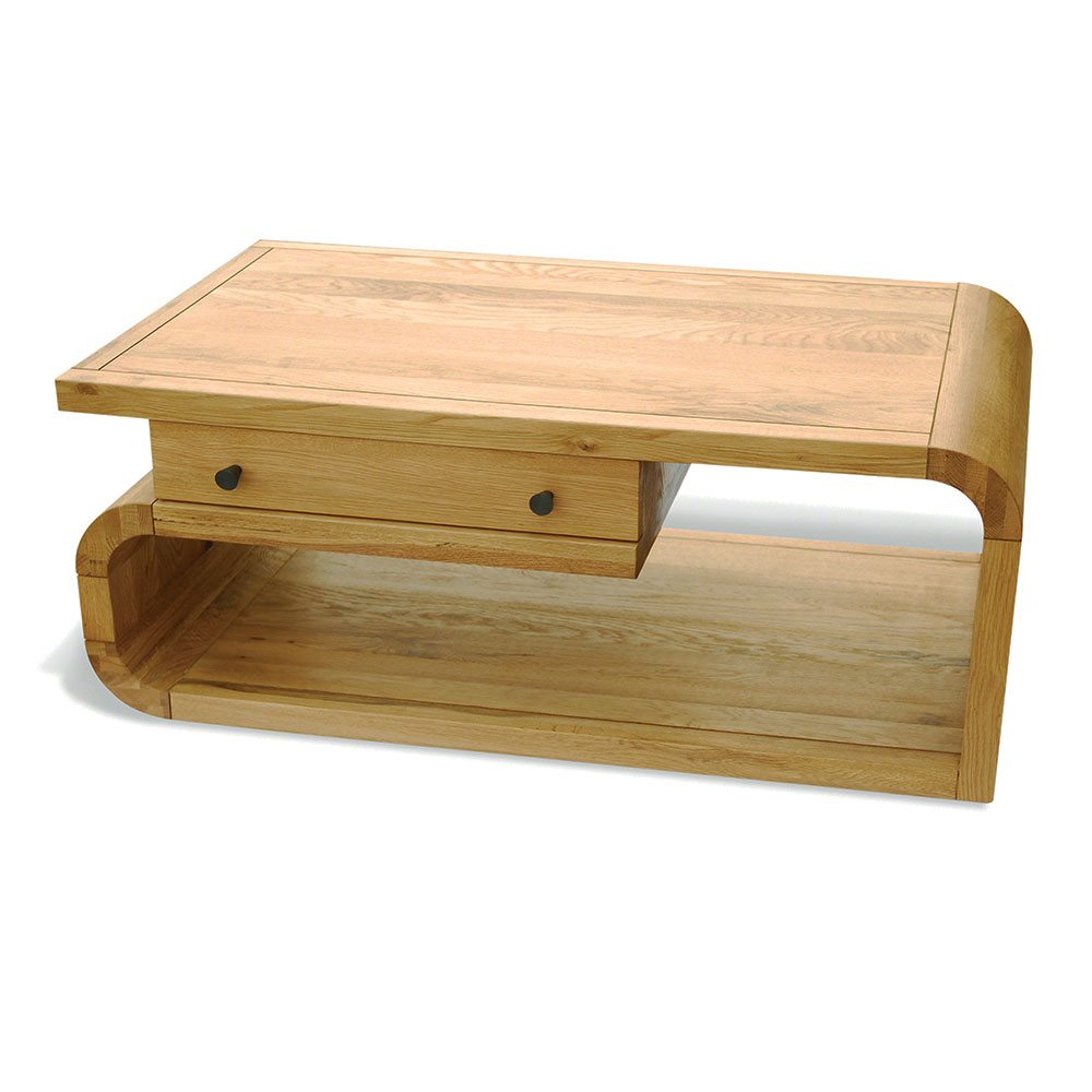 coffee table with drawer natural retro oak