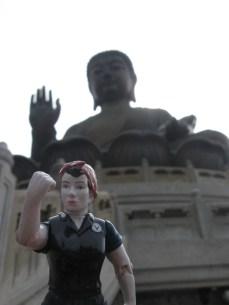 Rosie doing her best to pose like Buddha on Lantau Island, Hong Kong.