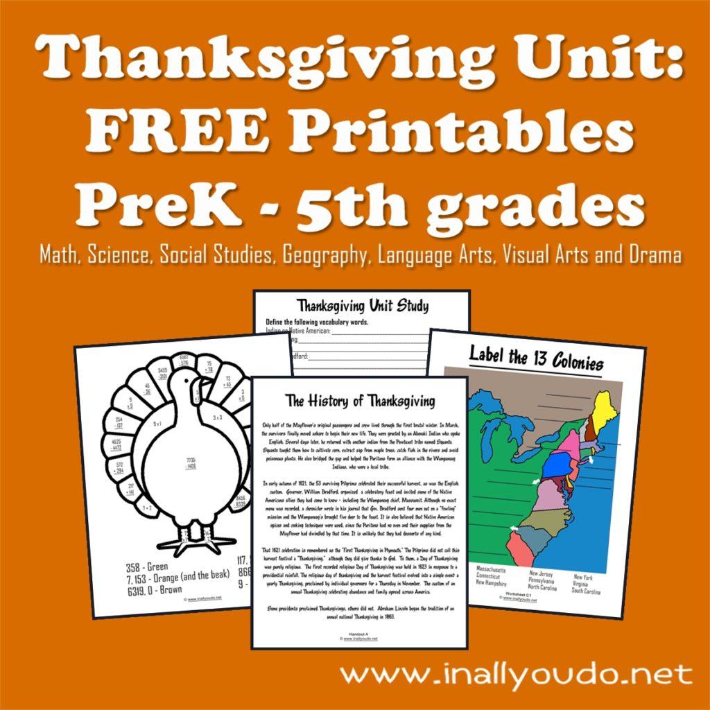 Thanksgiving Unit Free Printables Prek 5th