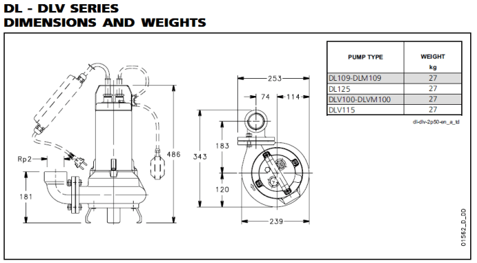 DL - DLV SERIES DIMENSIONS AND WEIGHTS