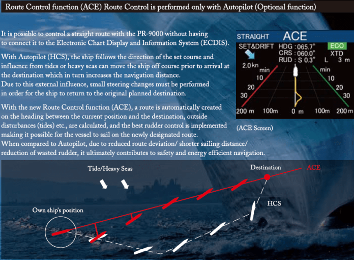 Remote Control function (ACE) Route Control is performed only with Autopilot