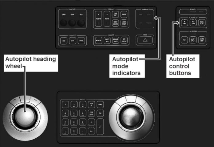 K-Bridge console operator panel (showing integrated autopilot controls)