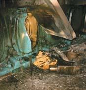 Damaged crankhouse door with broken bearings