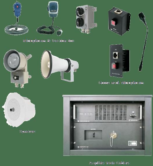 Microphones & Junction Box, Speakers, Goose-neck Microphones, Amplifier Main Cabinet
