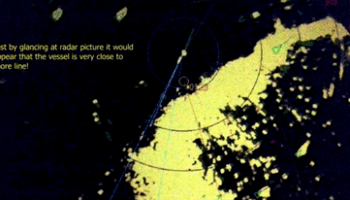 just by glancing at radar picture it would appear that the vessel is very close to shore line