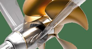 interaction between shaftline, V-strut, and propeller