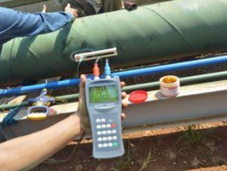 Pengoprasian flow meter ultrasonic portable