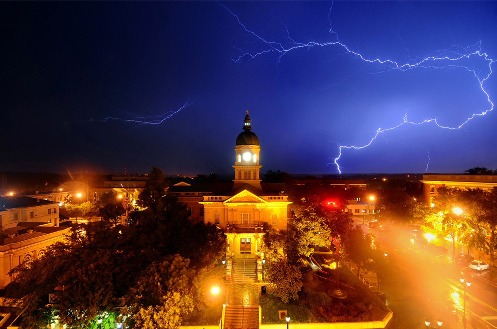 Lightning behind City Hall in Athens, Ga, over at The Big Picture
