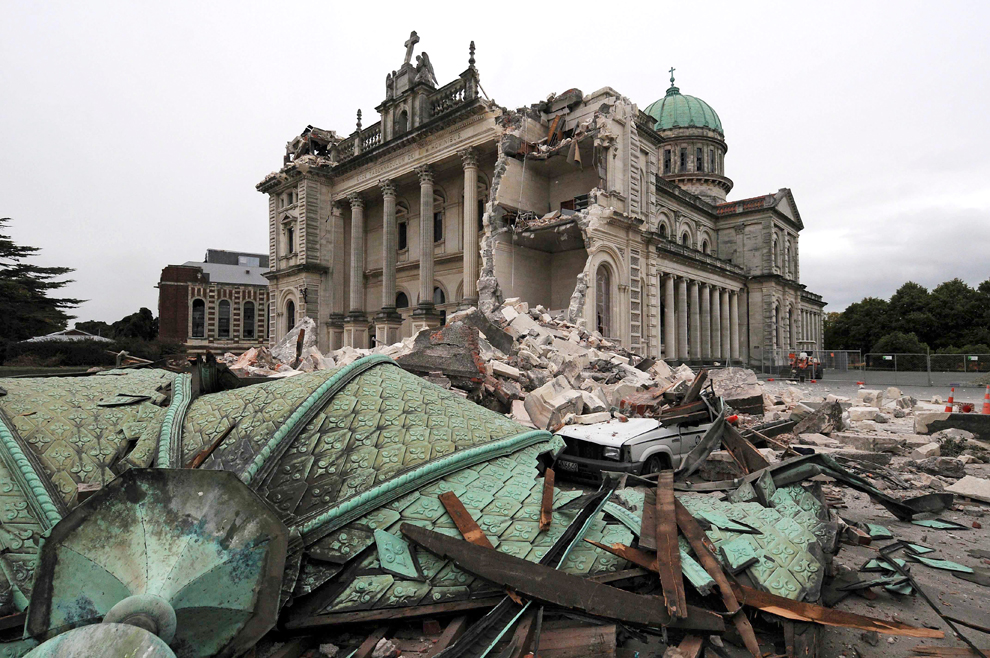 Christchurch's central cathedral in ruins