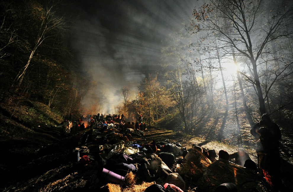 Anti-nuclear protesters block train tracks near Harlingen, Germany in the early hours of the morning on November 8, 2010. After a weekend of heavy protests, which at times turned violent as police with truncheons charging demonstrators, protesters aimed to block a train carrying a cargo of nuclear waste from France to Germany to the underground storage facility in Gorleben in northern Germany. (JOCHEN LUEBKE/AFP/Getty Images)