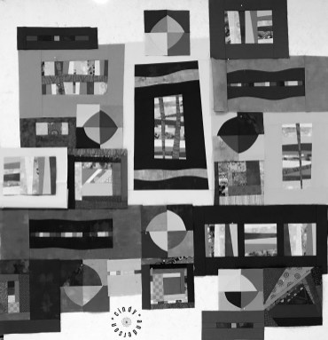 Mystery QAL Day 5, Mono Version of Design Wall