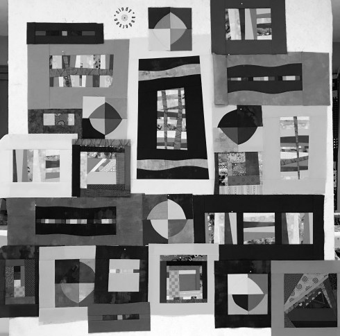 Mystery QAL Day 6, Design Wall In Mono
