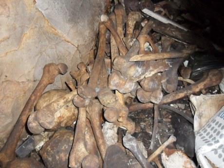 Section inside Butina Pit, post-WWII communist crimes mass grave on Island of Korcula - Butina Pit mass grave Photo taken October 2012