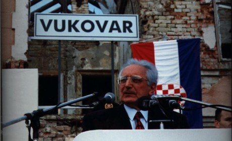 Franjo Tudjman in liberated Vukovar 8 June 1997
