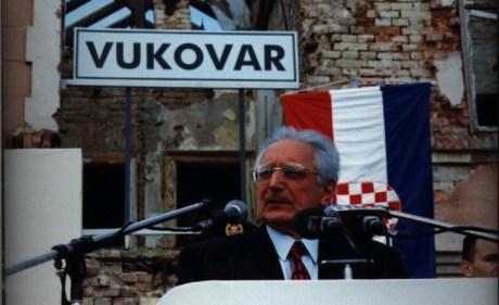 Franjo Tudjman in liberated Vukovar 8 June 1997