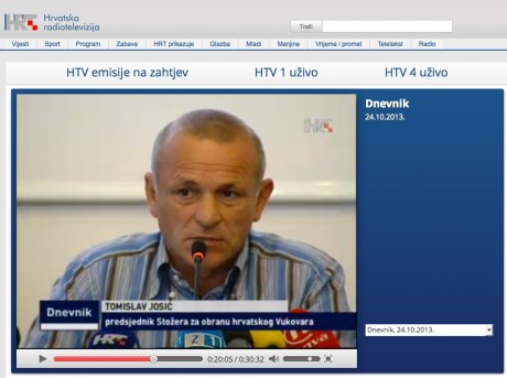 Tomislav Josic, President of Committee for the defence of Croatian Vukovar Photo: Screenshot HRT TV news 24.10.2013