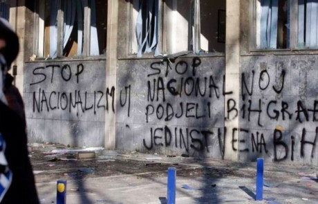 Graffiti: Stop Nationalism Stop Nationalistic Division of Bosnia United Bosnia