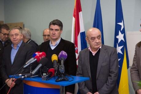 Centre: Zoran Milanovic, Croatian Prime Minister In Mostar 9 Feb 2014 Photo: Branimir Boban/Cropix