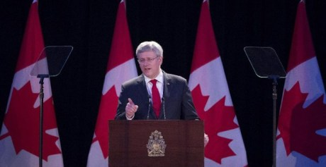 Canada's Prime Minister Stephen Harper delivers the keynote speech in defence of victims of communist crimes at fundraiser for Canada's Memorial of Victims of Communism  held in Toronto Friday 30 May 2014 (Photo: Darren Calabrese/The Canadian Press)