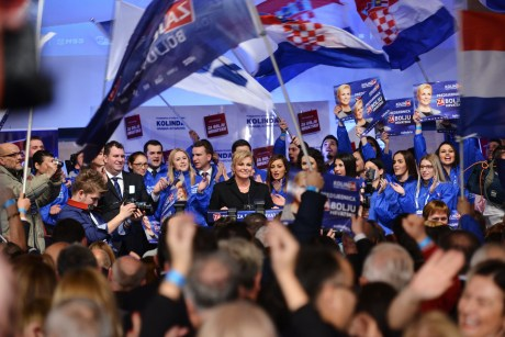 Kolinda Grabar-Kitarovic at post-election gathering in Zagreb Photo: www.hdz.hr