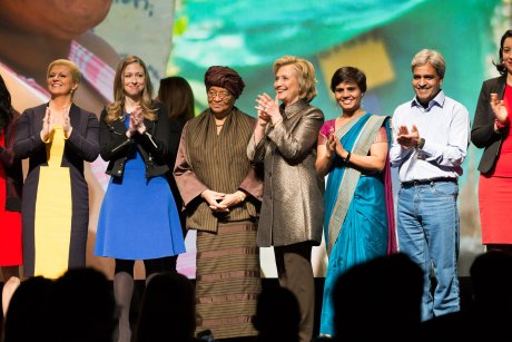 """Left: Croatian President Kolinda Grabar Kitarovic at Clinton Foundation New York March 9th, 2015  Women """"Not there yet - on issues of gender equality"""" Photo: Lacy Kiernan, Vogue.com (Click photo to enlarge)"""