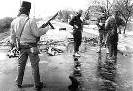 Armed Serb rebels  commenced aggression  in Croatia with barricades 1990