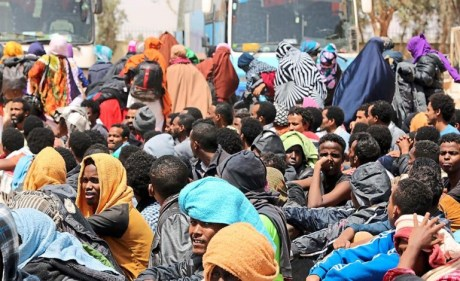 Illegal migrants rounded up by people smugglers in Libya to cross into Europe Photo by AP