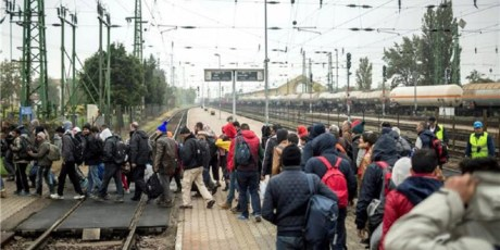 Migrants and refugees crossing the town of Cakovec, Croatia Saturday 17 October to reach Slovenia