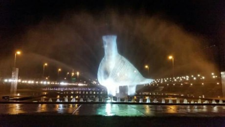 Fountain in Zagreb lights up as Vucedol Dove the symbol of Vukovar Croatia 24th anniversary of the fall of Vukovar