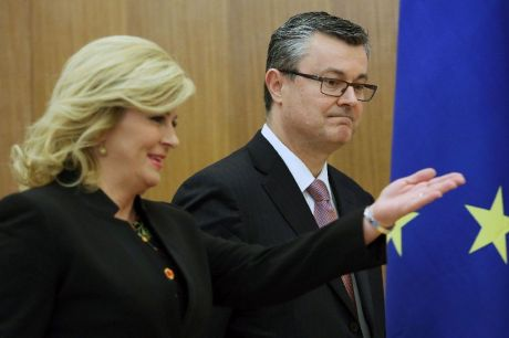 Kolinda Grabar-Kitarovic and Tihomir Oreskovic AFP photo