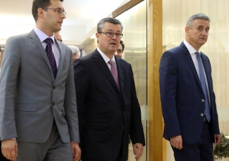 From Left: Bozo Petrov, leader Most/Bridge Tihomir Oreskovic, Prime Minister designate Tomislav Karamarko, Leader HDZ Photo: Jurica Galoic/PIXSELL