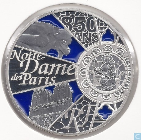 10 Euro coin France Notre Dame Cathedral image
