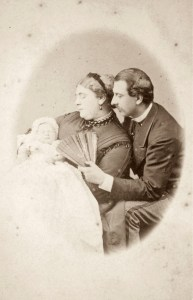 Baby Queen Mary with parents Mary Adelaide and Francis Duke of Teck