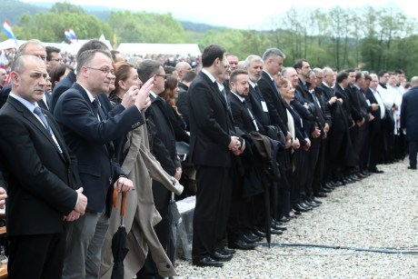 Croatian government and parliamentary leaders at Bleiburg 14 May 2016 Photo: Sanjin Strukic/Pixsell