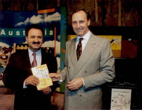 "Dr Andrew Theophanous and Mr Paul Keating (Prime Minister of Australia), 1996 launch of Dr Theophanous' book ""Understanding Multiculturalism and Australian Identity"""