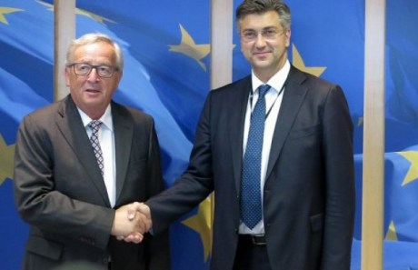 Jean Claude JUncker EC president Andrej Plenkovic, Croatian PM PHOTO: hdz.hr