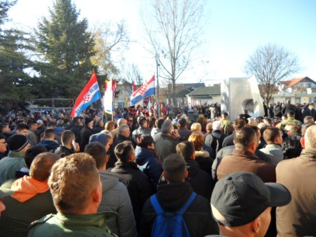 Ceremony begins at South courtyard Vukovar Hospital 18 November 2016 Photo: Connor Vlakancic