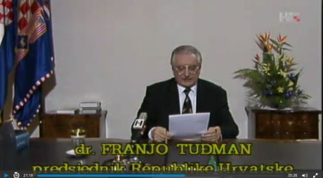 Croatia's first President dr Franjo Tudjman delivering televised speech on the occassion of international recognition of Croatia's independence 15 January 1992 Photo: screenshot