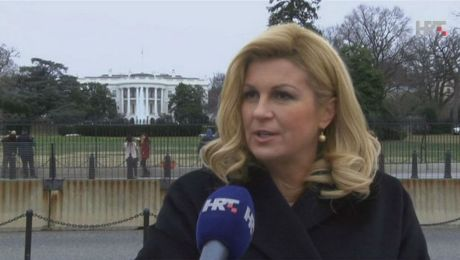 Croatian President Kolinda Grabar-Kitarovic in Washington DC Photo: Screenshot hrt.hr