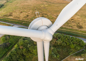 Drone photography inspection of a wind turbine