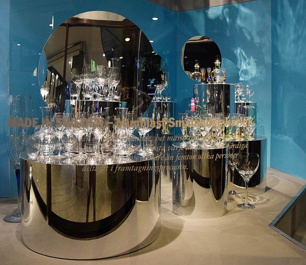 Vackra vinglas, nubbeglas, karaffer från Orrefors.