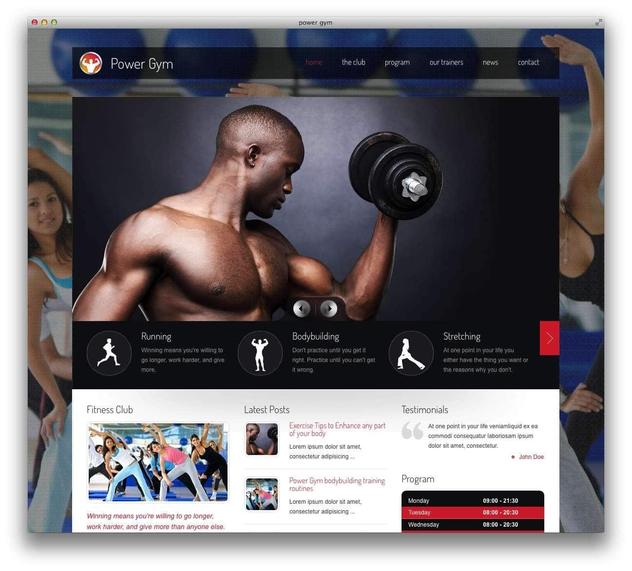 WordPress шаблоны – Фитнес и спорт 10