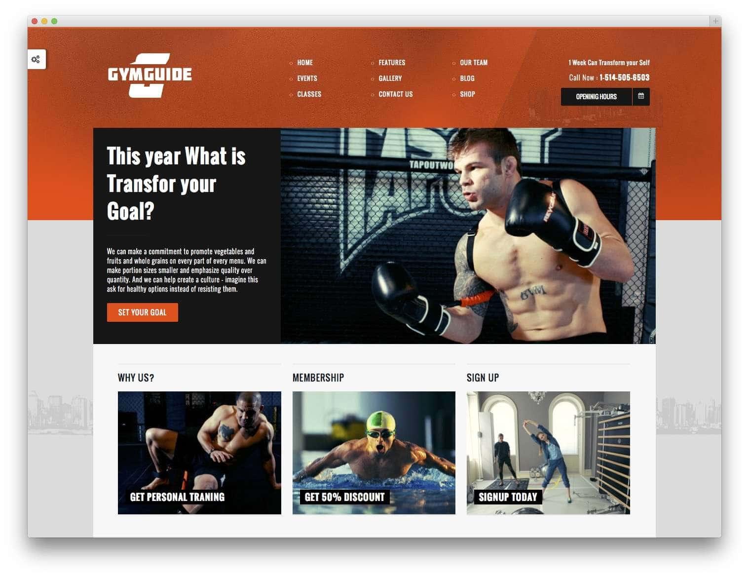 WordPress шаблоны – Фитнес и спорт 2