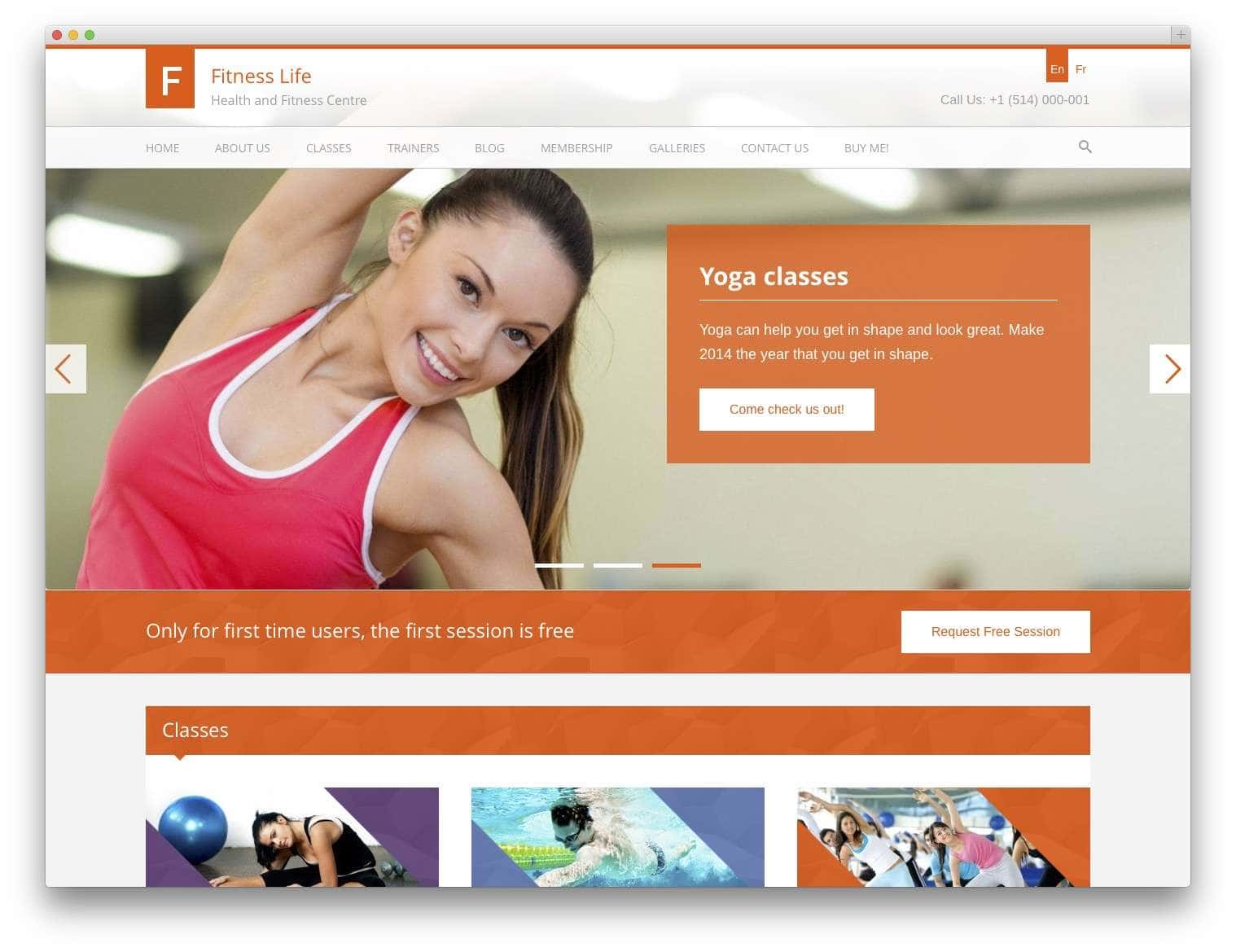WordPress шаблоны – Фитнес и спорт 3