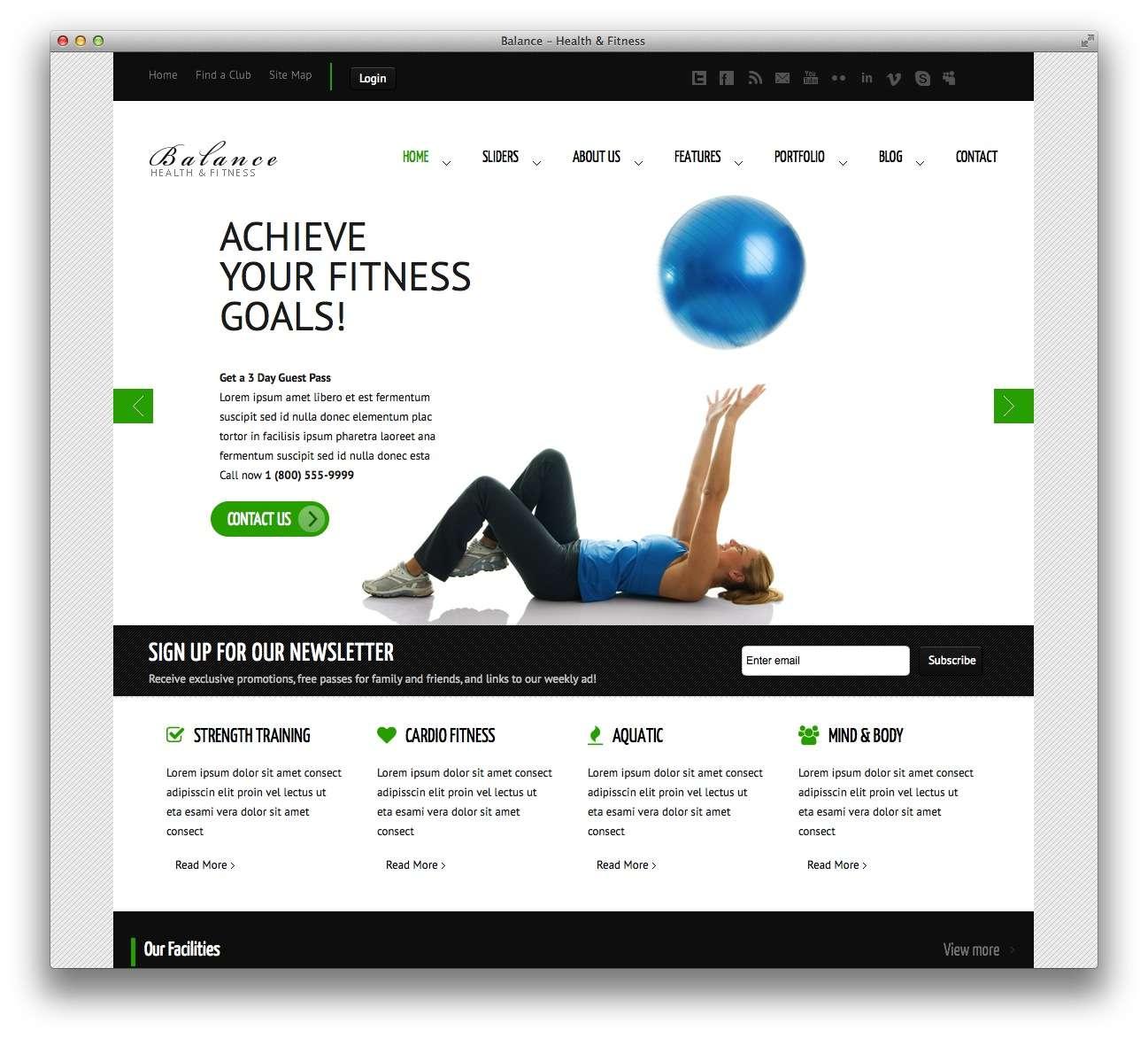 WordPress шаблоны – Фитнес и спорт 7