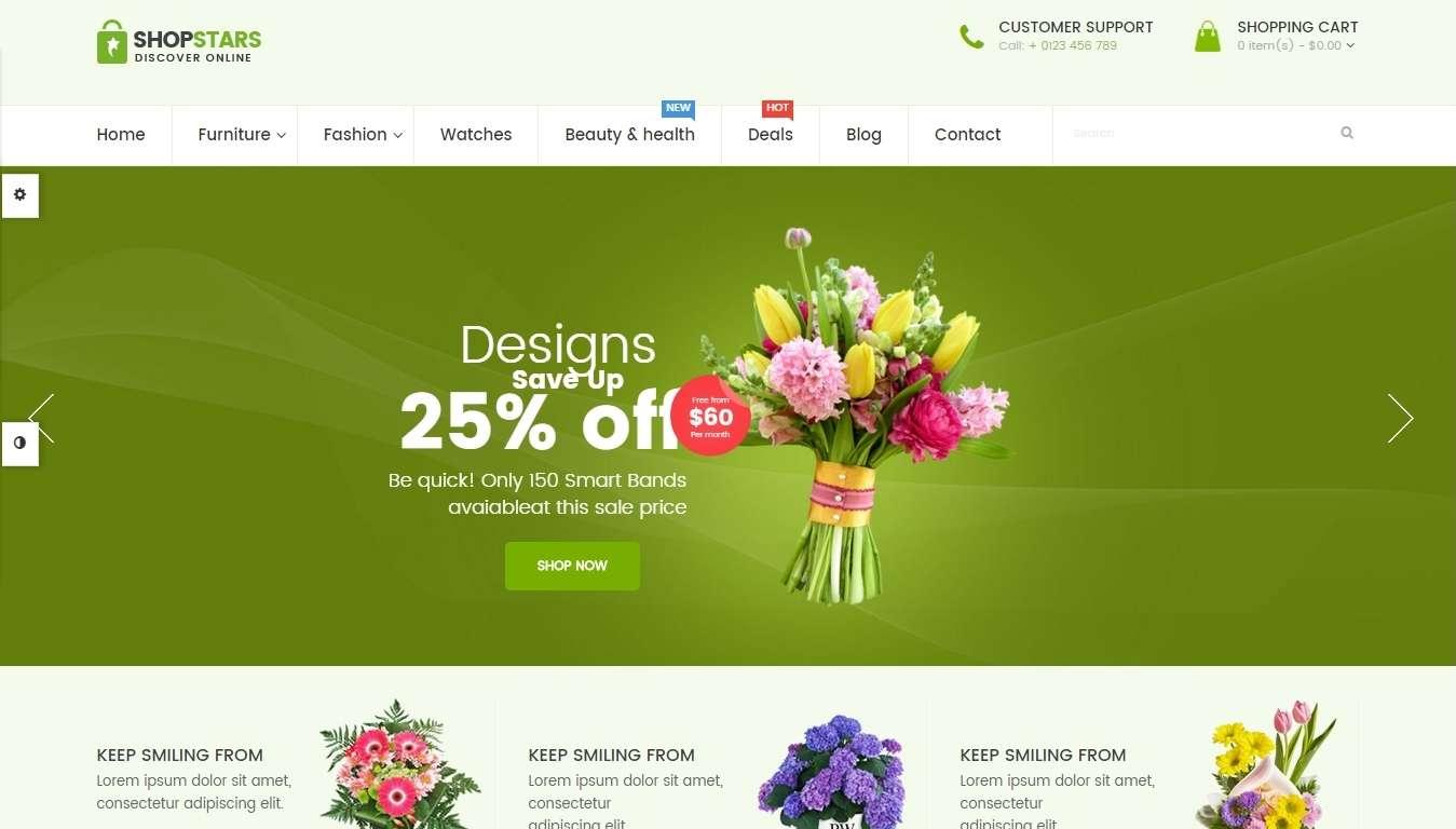 Интернет магазин для продажи цветов- Opencart шаблон